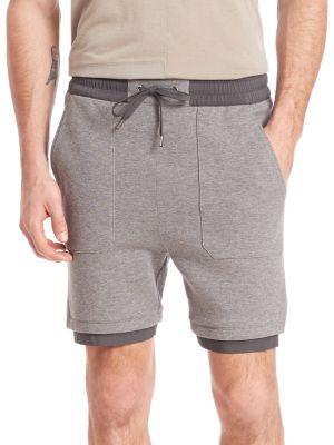Helmut Lang Sponge Pique Jersey Shorts In Grey