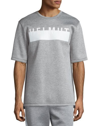 Helmut Lang Logo Short-sleeve Oversized T-shirt, Heather Gray In Heather Grey