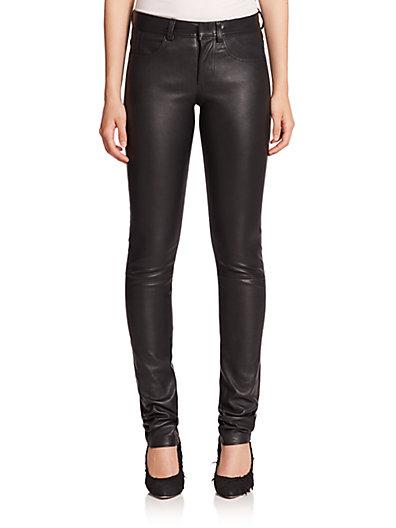 Helmut Lang Five-pocket Leather Pants In Black