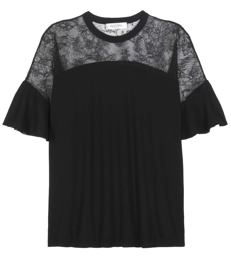 Valentino Wool And Lace Top In Black