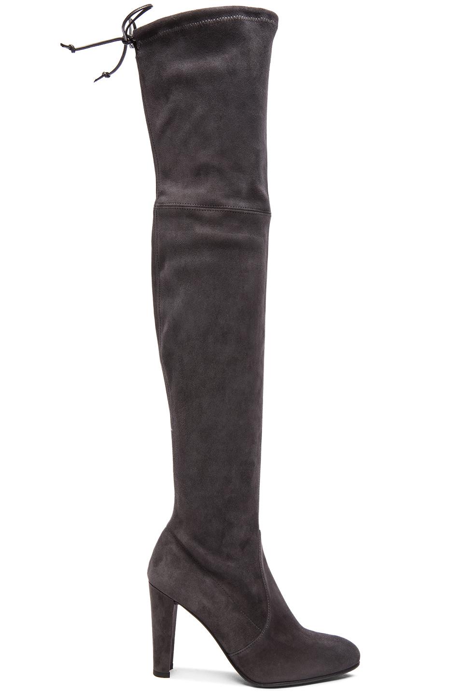 Stuart Weitzman Highland High Heel Over The Knee Boots In Grey Suede