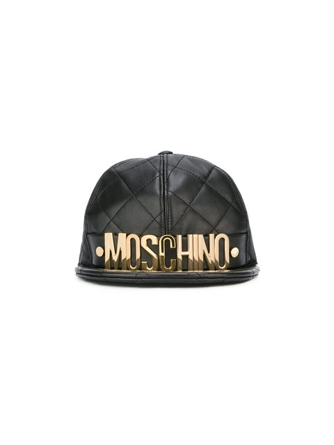 Moschino Quilted Leather Baseball Cap - Black
