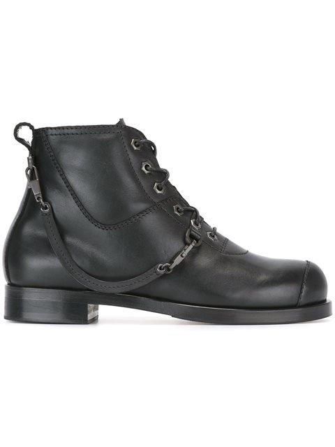 Helmut Lang Strap Detail Ankle Boots In Black