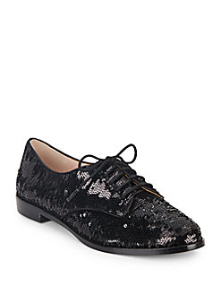 Kate Spade Paxton Sequined Oxfords In Black