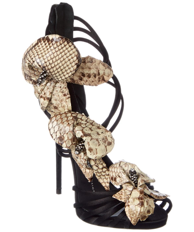 Giuseppe Zanotti Snake Print Flower Leather Sandal In Black