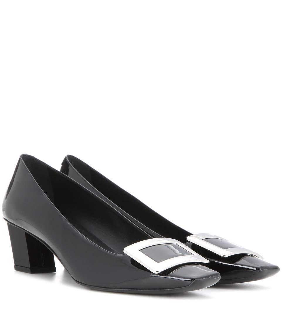Roger Vivier Decollete Belle Vivier Leather Ballerina Pumps, Black
