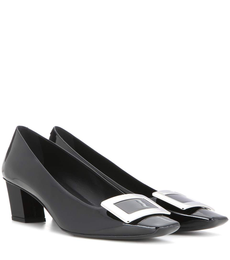 23f8645d36 Roger Vivier Decollete Belle Vivier Leather Ballerina Pumps, Black ...