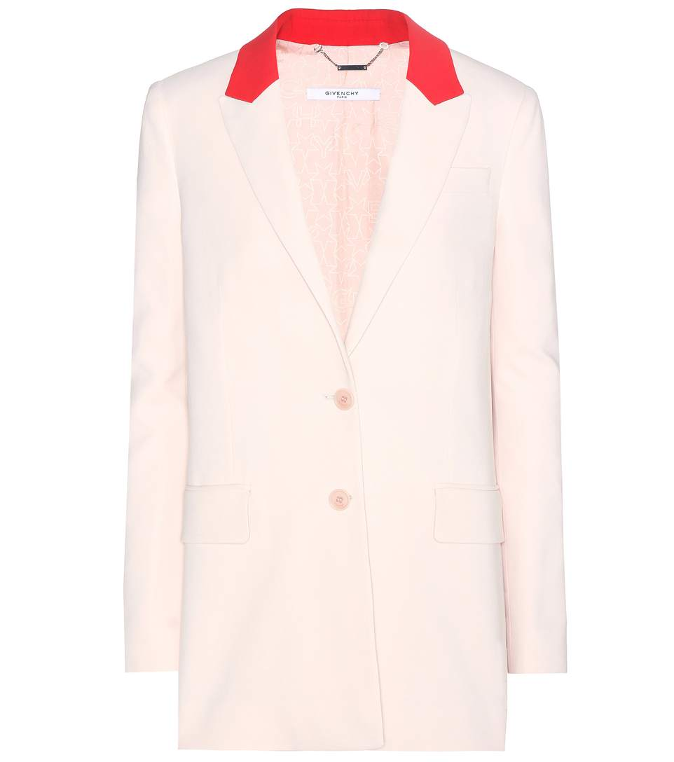 Givenchy Contrast Lapel Long Blazer In Pink