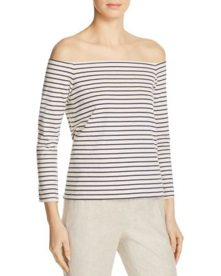 Theory Aprine Cotton Striped Off-the-shoulder Top In Warm Ivory/navy