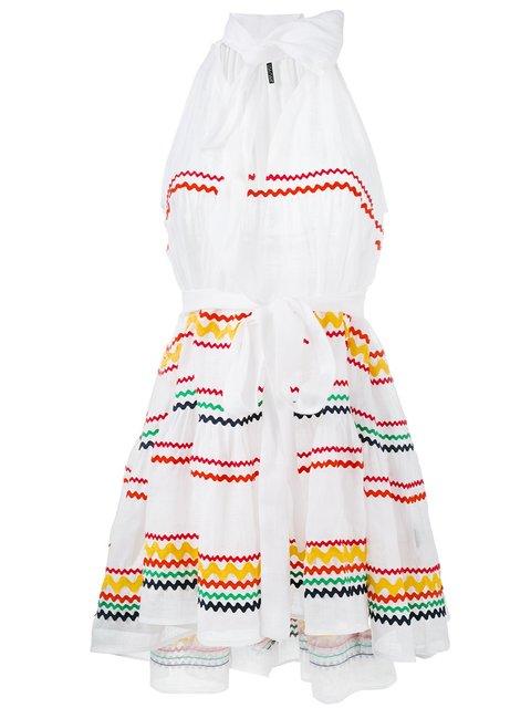 Lisa Marie Fernandez Mini Babydoll Dress In Abstract, White.