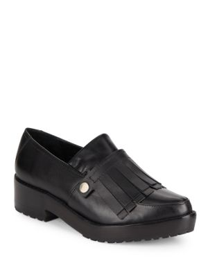 Tibi Esmae Leather Keltie Loafers In Black