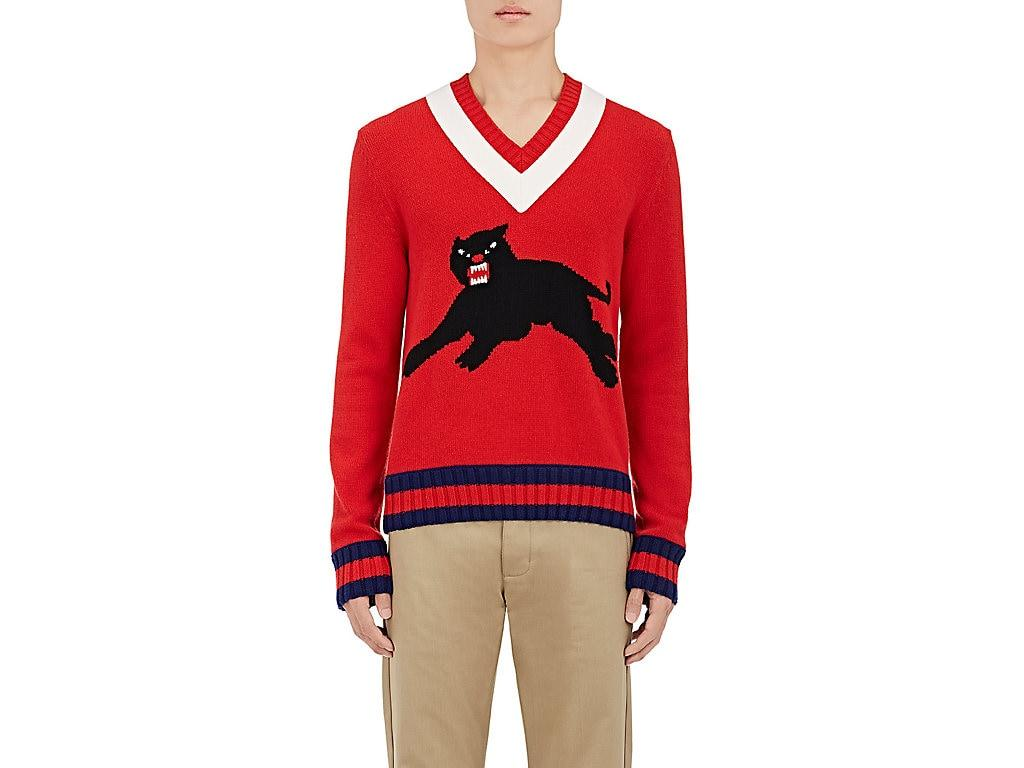 12fa043bd8b009 Gucci Wool Sweater With Panther Intarsia In Red Wool | ModeSens