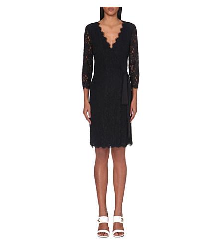 Diane Von Furstenberg Julianna Floral Lace Wrap Dress In Black