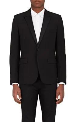 Saint Laurent Wool PiquÉ Tuxedo Jacket In Black
