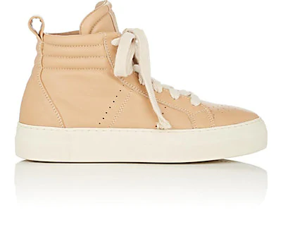 Helmut Lang Leather High-Top Platform Sneakers In Sand