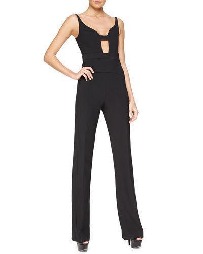 Narciso Rodriguez Sleeveless Cutout Scuba Crepe Jumpsuit, Black