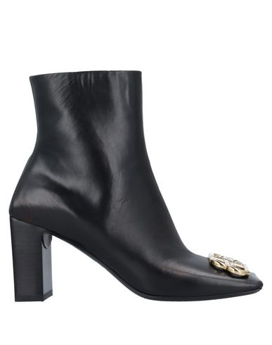 Balenciaga 'double Square' Logo Plaque Leather Ankle Boots In 1088 Black