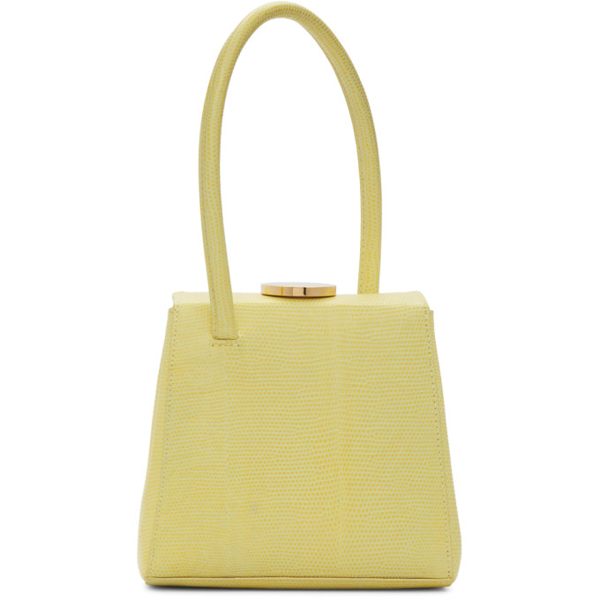 Little Liffner Mademoiselle Lizard-effect Leather Top Handle Bag In Lemon Curd