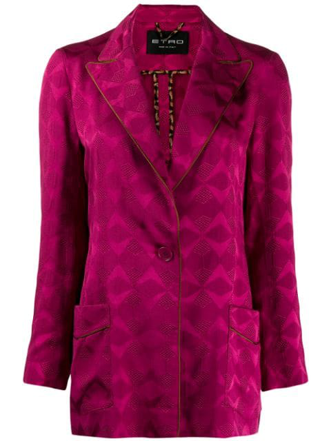 Etro Patterned Jacquard Blazer In Pink