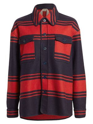 N°21 Collared Wool Striped Button-Down Shirt In Rigato Blu Rosso