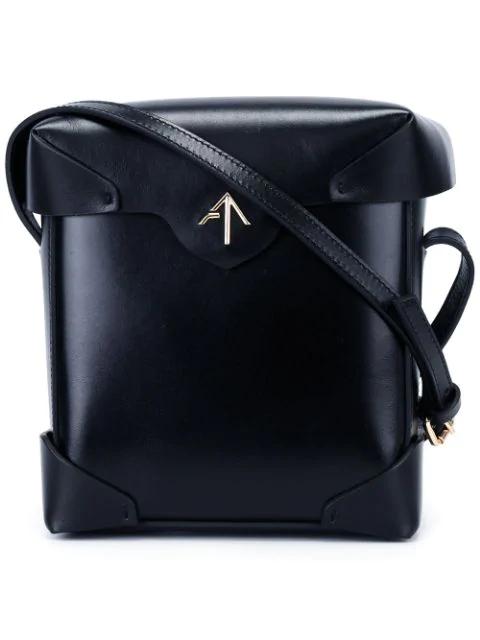 Manu Atelier Micro Pristine Box Bag With Gold Chain In Black