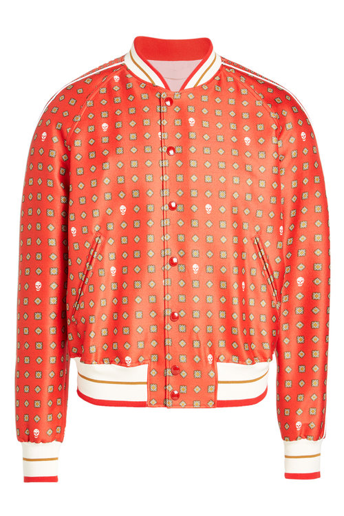 Alexander Mcqueen Wool And Silk Bomber Jacket In Red