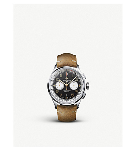 Breitling Ab0118a21b1x1 Premier B01 Chronograph Norton Steel And Leather Watch In Brown/silver