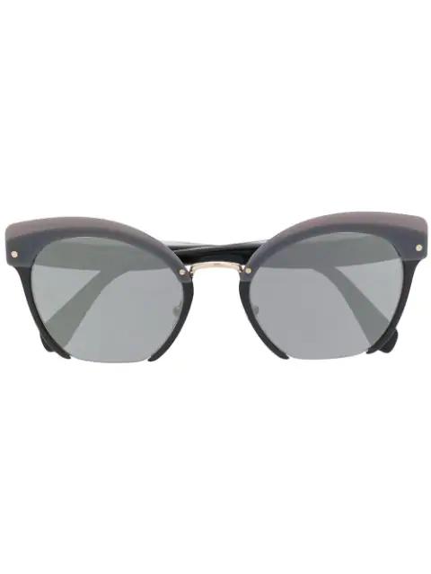 c9c2ec3015dd Miu Miu Eyewear Square Frame Sunglasses - Black | ModeSens