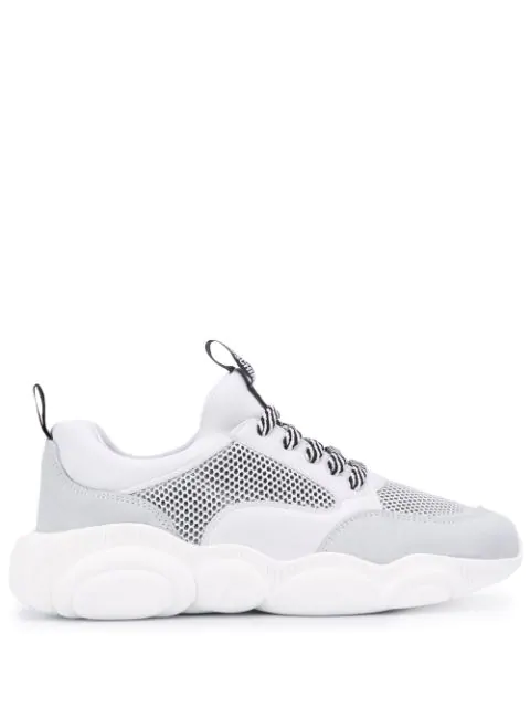 16e6f1138d5e9 Moschino Teddy Run Sneakers In Mesh, Calfskin And Split Leather In White