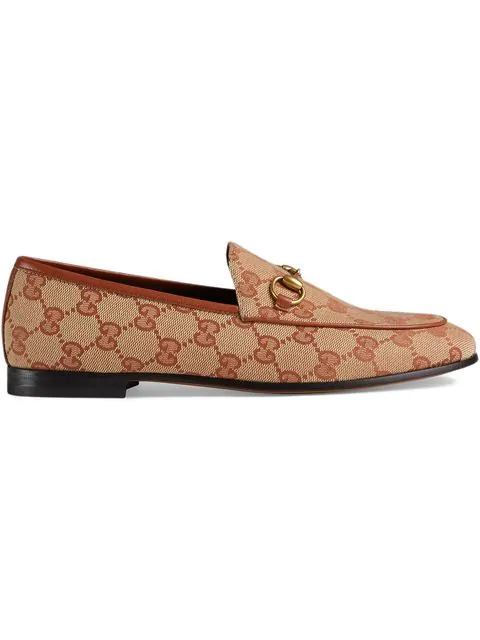 Gucci 'Jordaan' Gg Embroidered Canvas Horsebit Loafers In 8378 Gg Beige