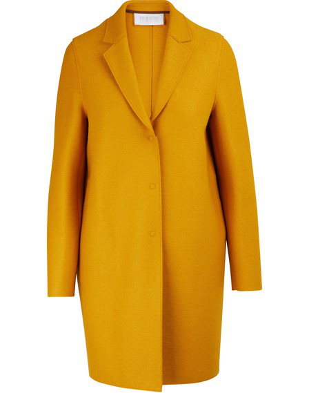 Harris Wharf London Cocoon Coat In Felted Wool In Golden Yellow