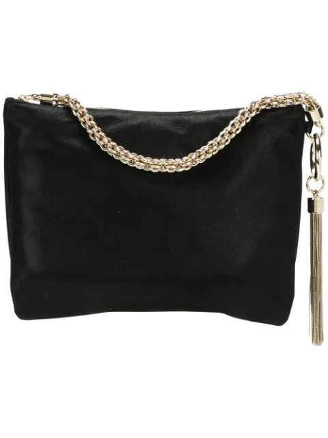 Jimmy Choo Callie Shimmer Leather Convertible Clutch In Black