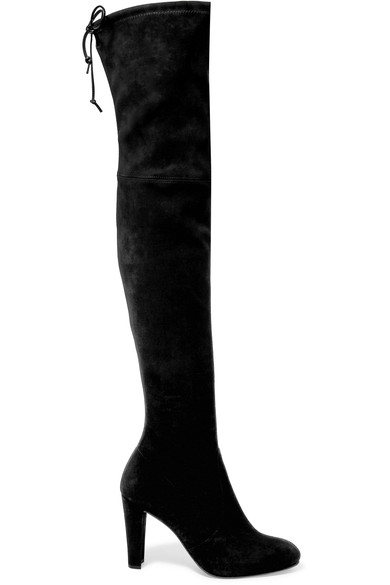 Stuart Weitzman Highland Stretch-Suede Over-The-Knee Boots In Black Suede