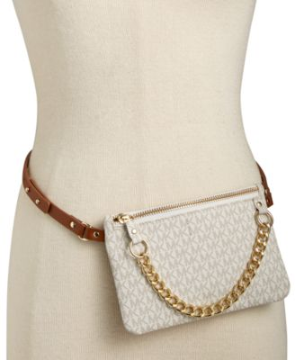 fb9911ccd5a16a Michael Kors Michael Mk Logo Leather Fanny Pack In White/Gold | ModeSens