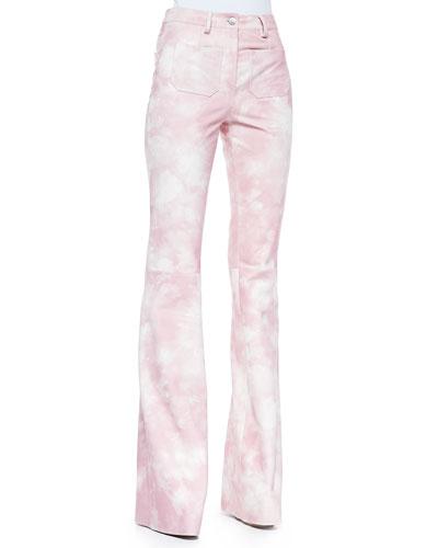 Michael Kors Tie-Dye Leather Bell-Bottom Pants, Oleander