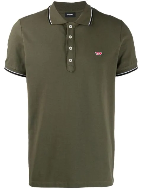 Diesel Logo Patch Polo Shirt In Green