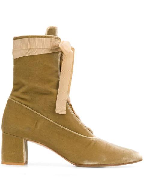 Yohji Yamamoto 2000's Block Heel Boots In Neutrals