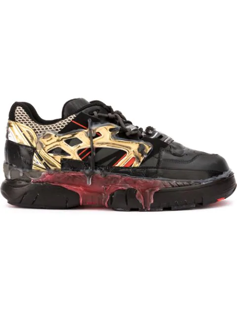 Maison Margiela Black Sneakers Fusion In Leather In H7397 Black/ Gold / Red