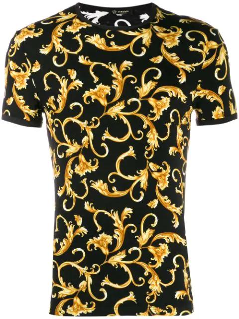 07fd758c37 Versace Gold Hibiscus Print T-Shirt - Black