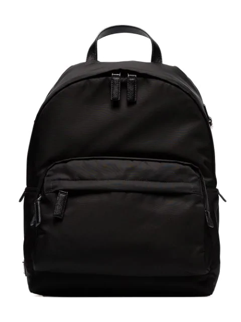 Prada Classic Logo Plaque Backpack In Black