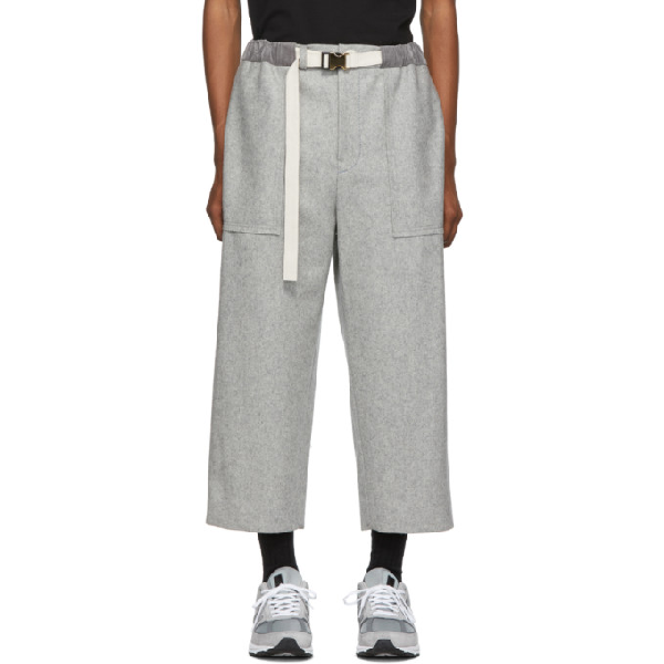 Sacai Grey Melton Pants In 376 L Gray