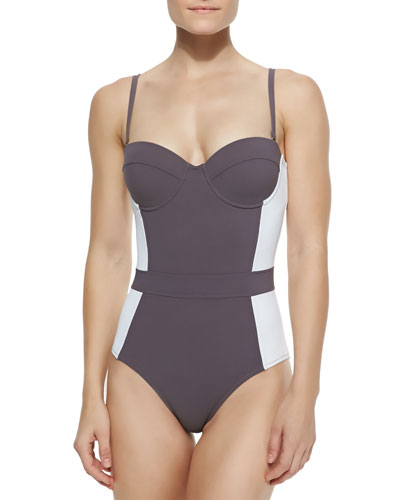 Tory Burch Lipsi Colorblock One-Piece Swimsuit, Bedford Gry/Ivory