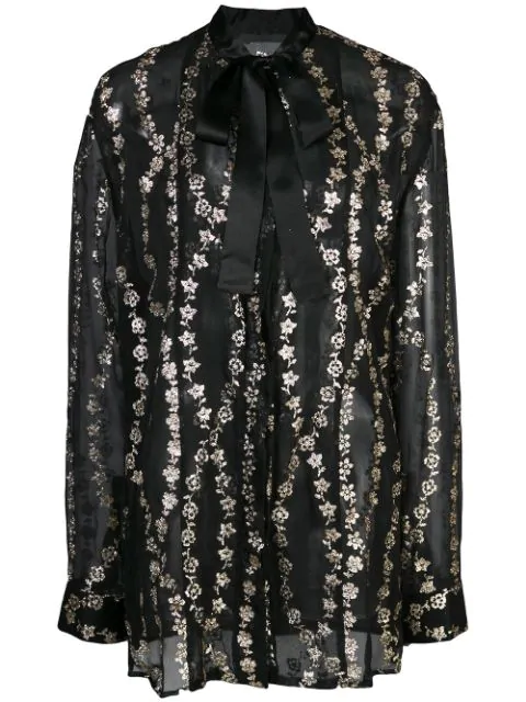 Haider Ackermann Floral Embroidery Sheer Blouse In Black
