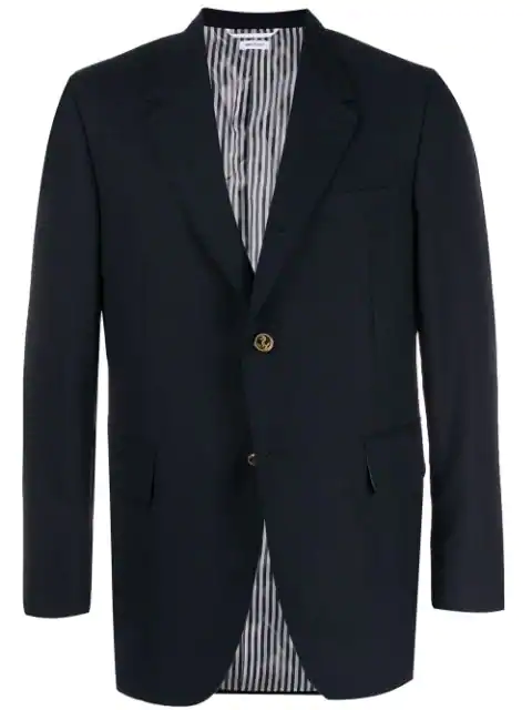 Thom Browne Notched Lapel Blazer In Blue