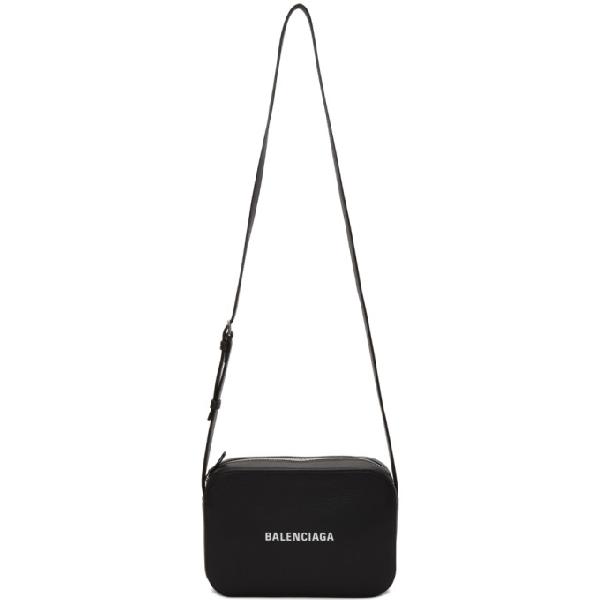Balenciaga Black Everyday Logo Leather Camera Bag In 1000 Blk/Wh