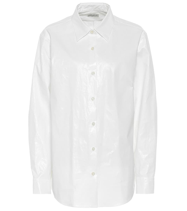 Dries Van Noten Women's Puff-sleeve Collared Cotton Shirt In White