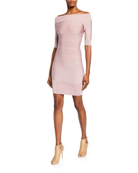 Herve Leger Off-the-shoulder Bandage Mini Dress In Blush
