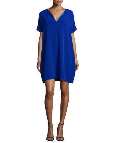 Diane Von Furstenberg Kora Short-Sleeve Shift Dress, Cosmic Blue In Colbalt