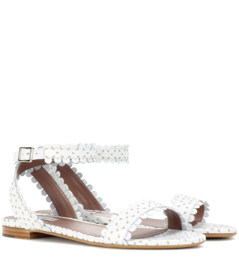 Tabitha Simmons Judy Perforated Leather Sandals In White