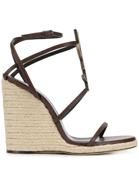 Saint Laurent Cassandra Platform Espadrilles In Leather With A Bamboo Logo In 6023 -T.Moro